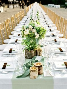 """If you can take it outside and """"wow""""your guests with a table set in the middle of a garden or field."""