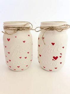 Valentine's Day Mason Jar Decor Painted Mason Jars