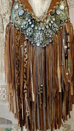 Custom for Carla Suede Fringe Shoulder Bag Hippie Gypsy Boho Brown Purse tmyers