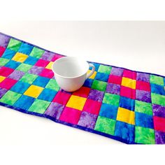 Quilted Table Runner, Primary colors, Handmade Runner, Handmade... (€31) ❤ liked on Polyvore featuring home, kitchen & dining and table linens