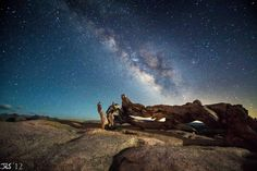 Milky Way rising over Yosemite National Park.