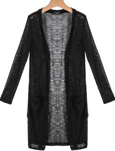 Black Long Sleeve Pockets Knit Cardigan - Sheinside.com Вязаный Кардиган 9fdc6e4b12b0