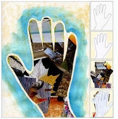 """Do a hand-shaped """"self-portrait"""" with images that describe them."""