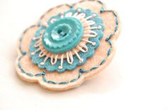 Teal and Peach Embroidered Brooch 18.00