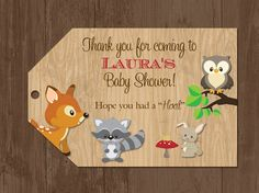 woodland animal baby shower | Woodland Animals Baby Shower Favor Tags by PartyPopInvites on Etsy