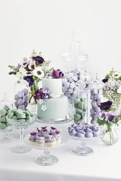 Gorgeous Lilac Wedding Dessert Table featuring Macarons, Mini-Cupcakes, & of course Wedding Cake! Wedding Candy, Wedding Desserts, Wedding Decorations, Macaroons Wedding, Stage Decorations, Candy Table, Candy Buffet, Lilac Wedding, Wedding Colors
