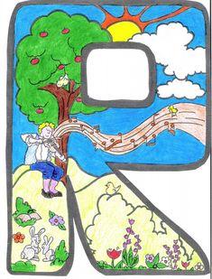 Letras para crear el cartel de primavera Alphabet Coloring Pages, Shrek, Art Decor, Diy And Crafts, Narnia, Letters, Disney Characters, Abcs, Sunflowers