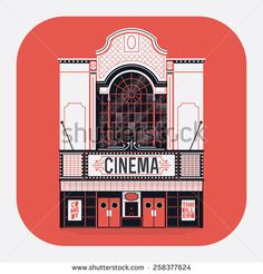 Beautiful vector detailed fully decorated classic motion picture movie film theater building facade with marquee signboard. Entertainment design element on cinema house front entrance - stock vector