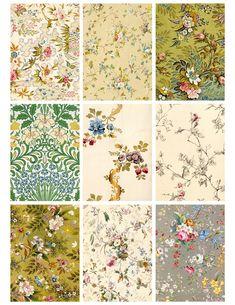 Free Printable! Antique Flower Wallpaper Cards by Jodie Lee Designs.
