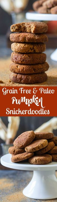Super soft grain free and paleo pumpkin snickerdoodles that are super easy, kid friendly and packed with vanilla cinnamon sugar flavor! Gluten free, dairy free, refined sugar free and perfect for healthy holiday cookies!