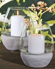 Are you into a DIY mood? We give you creative DIY decoration ideas and original instructions for making candle holders. Concrete Candle Holders, Candle Holder Decor, Cement Art, Concrete Crafts, Deco Design, Craft Ideas, Fun Craft, Home Decoration, Candleholders