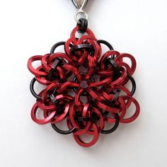 Chainmail pendant necklace in red & black by tat2dchaind