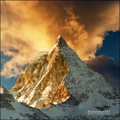 The Matterhorn (German), Cervino (Italian) or Cervin (French), is a mountain in the Pennine Alps. With its metres ft) high summit, lying o. Zermatt, Places Around The World, Around The Worlds, Landscape Photography, Nature Photography, Color Photography, Monte Everest, Cool Pictures, Cool Photos