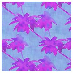 Whether you are creating tropical fashion apparel or a coastal craft project, this Palm Trees Tropical Island repeating pattern fabric is sure to do the trick! magenta palm trees on a blue background with a sponged painted effect.