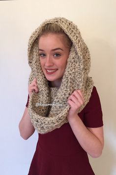A personal favorite from my Etsy shop https://www.etsy.com/listing/255214830/oatmeal-crochet-hooded-scarf
