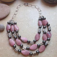 Rhodochrosite & Hematite Necklace