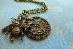 Time keeps Buzzing on Bronze Pendant by ArtBoxCreations on Etsy, $19.00