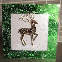To reindeer, Sheena embossing folder 6x6 card