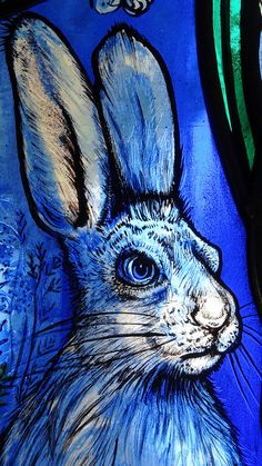 Monochromatic painting on glass in white, blues, and black - All Saints Church Denmead Hampshire UK stained glass window artist Jude Tarrant 16 Animal Art, Glass Painting, Stained Glass Paint, Painting, Rabbit Art, Art, Bunny Art, Glass Art, Monochromatic Paintings