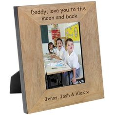 """Mums are amazing so tell them how special they are with """"Grandma we love you because """""""" personalised wood photograph frame . A quality personalised gift for your grandma Available both Portrait and Landscape. 7 x 5 Personalized Photo Frames, Personalized Gifts, Baby Picture Frames, Family Theme, Mothers Day Special, Engraved Gifts, Baby Pictures, Daddy, Photo Gifts"""