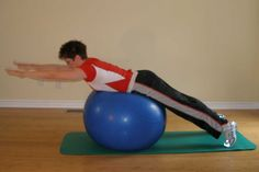 A good swim workout includes a dry land program that incorporates exercise ball exercises to strengthen the core musculature.