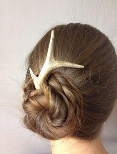 Natural hair accessory, hair stick, hair pin, antler, bone, roe, deer, horn, hair friendly, haar, burr, pagan, celtic, animal