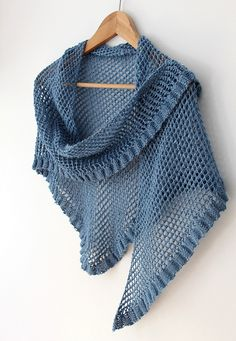 Ruffle Edge Shawl knit in a lustrous viscose & linen yarn. Imagine the drape! Perfect for summer.