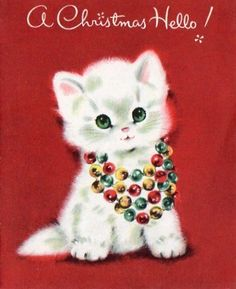 Vintage Christmas card - Kitten in necklace