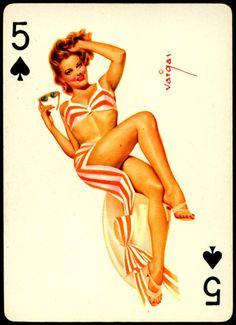 Alberto Vargas - Pin-up Playing Cards (1950) - 5 of Spades