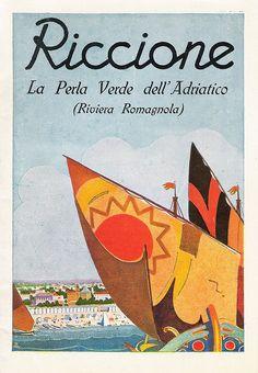 Vintage Italian Posters ~ #Italian #vintage #posters ~ Riccione - La Perla Verde dell'Adriatico by Andrea Speziali