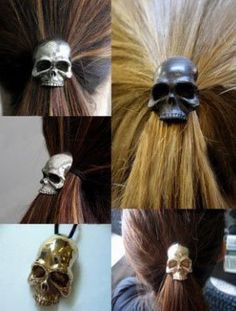 Skull ponytail clips - a Xmas gift from my staff!!