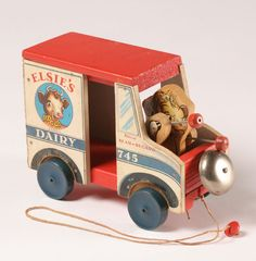 Fisher Price Elsie Cow Dairy Truck Pull Toy