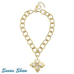 Gold Mother of Pearl Clover Necklace