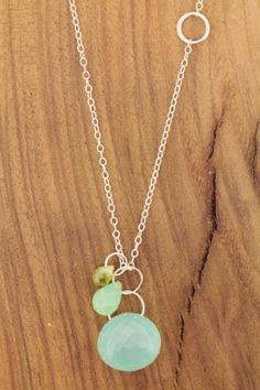 Melissa Joy Manning: Peridot, Chrysporase & Chalcedony Necklace - Recycled Sterling Silver