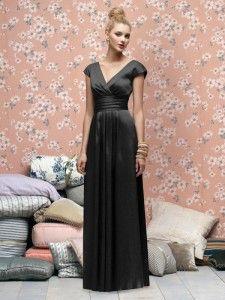 Deep V-Neckline Back Long Satin Black Bridesmaid Dresses Style LX167