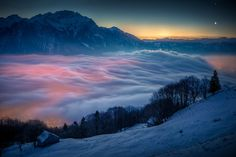 Moon and Venus over Switzerland (by neefer)