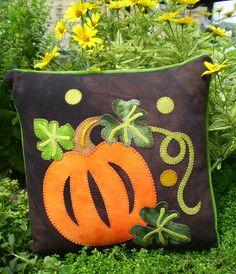 Pumpkin Patch Wool Applique Throw Pillow