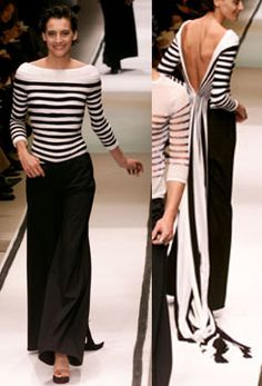 Jean Paul Gaultier, Haute Couture Spring 2002  --  Love how it looks effortlessly chic from the front and then so sofisticated on the back.