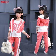 MMHSY Одяг для дівчат 2017 Модний стиль Дитячі одяг Комплекти футболки з  довгим рукавом + пальто b70dd6342f278