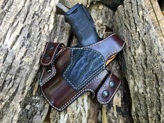 Nightingale Leather HK VP9 Griffon V OWB Holster w/  Thumb Break ~ Cordovan Cowhide ~ Black Elephant Reinforcement Panel ~ Full Grain Leather Lining ~ Natural White Stitching ~ Black Snaps