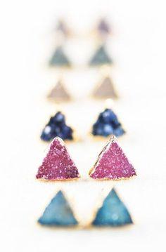 gold druzy stud earrings