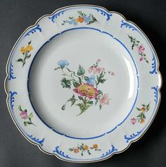"""""""Marjolaine"""" china pattern with blue trim & floral accents from Chas Field Haviland."""
