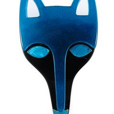 Lea Stein Fox Head Brooch Electric Blue + Black