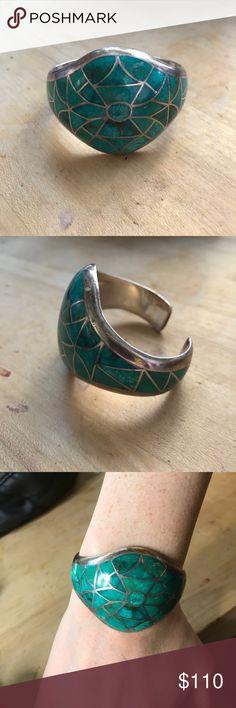 Turquoise Cuff Bracelet Handmade unique authentic cuff. Jewelry Bracelets