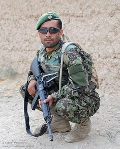 Afghan soldier of the Afghan National Army (ANA) with an M16 assault rifle.