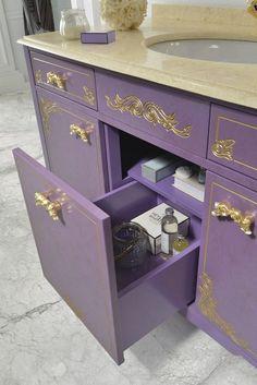 Alice Waschtischschrank mit Schubladen in lila