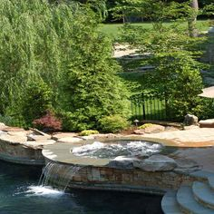 Get Inspired: Exploring Spa and Pool Combination Designs Garden Water Fountains, Water Garden, Water Features, Garden Bridge, Swimming Pools, Waterfall, Spa, Backyard, Outdoor Structures