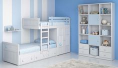 Dormitorio juvenil litera tren o bloc Small Room Design Bedroom, Kids Room Design, Kids Bedroom, Bunk Beds With Storage, Bunk Bed Designs, Decoration Bedroom, Diy House Projects, Storage Design, Kid Beds