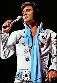 "Elvis - 70's in concert wearing ""White Fireworks."""
