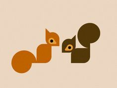 Squirrels designed by Rob Kemerink. the global community for designers and creative professionals. Graphic Design Illustration, Illustration Art, Squirrel Illustration, Squirrel Art, Art Projects, Sewing Projects, Grafik Design, Flocking, Cute Drawings